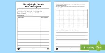 State of Origin Captaincy Data Investigation Activity Sheet - Australian Sporting Events Maths, ACMSP096, year 4 maths, data, data investigation, data display, gr