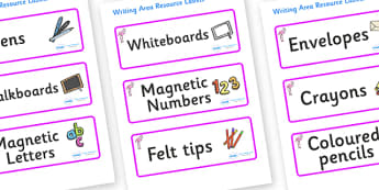 Flamingo Themed Editable Writing Area Resource Labels - Themed writing resource labels, literacy area labels, writing area resources, Label template, Resource Label, Name Labels, Editable Labels, Drawer Labels, KS1 Labels, Foundation Labels, Foundati