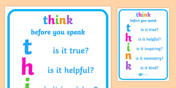 Think before You Speak Poster - think before you speak, think poster, remember to think poster, anti-bullying, bullying, think display poster, bullying