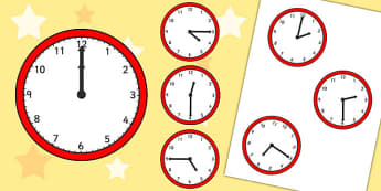 Half Past, Quarter Past and O'Clock Analogue Clocks