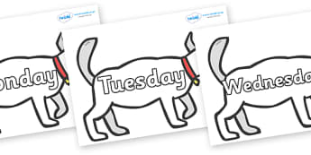 Days of the Week on White Dog to Support Teaching on Brown Bear, Brown Bear - Days of the Week, Weeks poster, week, display, poster, frieze, Days, Day, Monday, Tuesday, Wednesday, Thursday, Friday, Saturday, Sunday
