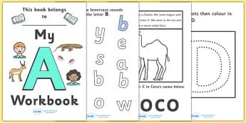 My Alphabet Workbook Pack (uppercase) - education, home school, child development, children activities, free, kids, worksheets, how to write, literacy
