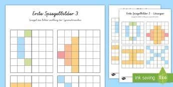 Erste Spiegelbilder 3 Arbeitsblatt: Bilder Muster zum Fortsetzen - Mathematik: Zahlen, Spiegeln, Symmetrie, Kl.1/2, maths, reflections, EYFS/KS1,German