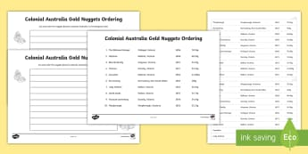 Colonial Australia Gold Nuggets Ordering Activity Sheets - smallest to largest, year, chronological order, gold rush, Australian colony, ACHASSK108, ACHASSK109