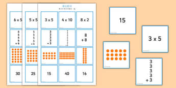 2, 5 and 10 Times Table Multiplication Matching Puzzle Mandarin Chinese - 乘法,乘法口诀,十倍,五倍,二倍,两倍