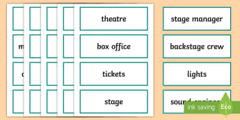 The Theatre Word Cards - ROI Drama, theatre, acting, play, act, ,Irish, theatre word cards