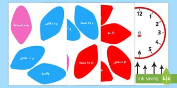 ملصقات زهرة ساعة تناظرية - ساعة تناظرية، ساعات، الوقت، الإخبار عن الوقت، عربي,
