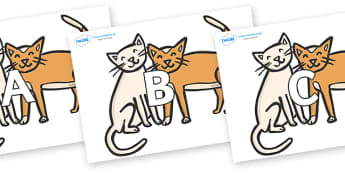 A-Z Alphabet on Cats - A-Z, A4, display, Alphabet frieze, Display letters, Letter posters, A-Z letters, Alphabet flashcards
