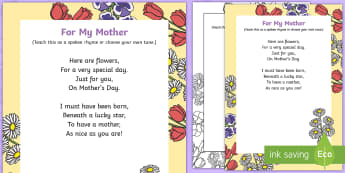 For My Mother Rhyme - Mother's Day, Flowers, rhyme, song, lyrics, chocolates