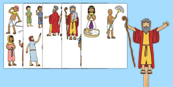 Moses Stick Puppets - Moses, Egypt, Hebrews, slaves, Pharaoh, basket, God, palace, shepherd, story, story book, story sequencing, story resources, stick puppet, burning bush, plague, Primised Land, law, stone, ten commandments, bible, bible story
