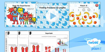 PlanIt Y2 Fractions Lesson Pack - Fractions, length, measures, compare, 1/2, 1/4, 1/3, 3/4, half, halves, third, quarter, long