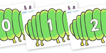 Numbers 0-31 on Fat Caterpillars to Support Teaching on The Very Hungry Caterpillar - 0-31, foundation stage numeracy, Number recognition, Number flashcards, counting, number frieze, Display numbers, number posters