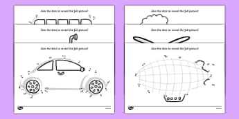 Transport Dot to Dot Activity Sheet Pack - activity, game, fun, transport, transport dot to dot, dot to dot, dot activity, transport activity, travel, movement, car, bus, fun activity, fun game, learning, play, worksheet