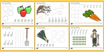 Autumn and Harvest Themed Pencil Control Sheets A Z - nz, new zealand, autumn, harvest, pencil control