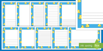 Rubber Duck Themed Page Border Pack - Rubber Duck Themed Page Border Pack - rubber Ducks, nursery rhyme, Literacy, writing, page border, a