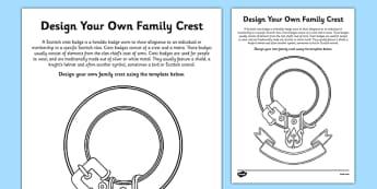 Design Your Own Scottish Clan Crest Activity Sheet - cfe, design, scottish clan, crest, activity, worksheet