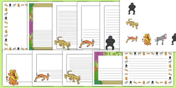 Page Borders to Support Teaching on Rumble in the Jungle - Story, book, resources, Giles Andreae, David Wojtowycz,writing template, writing frame, border, literacy, creative writing, teaching resources, book resources, jungle creatures, jungle, book