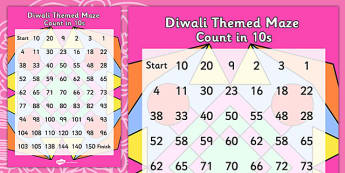 Diwali Counting in 10s Maze - hindu, RE, festivals, celebration
