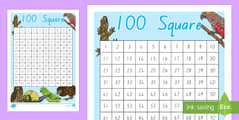 NZ Animals Themed 100 Number Square