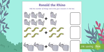 Ronald the Rhino Count and Add Activity Sheet - Ronald the Rhino, rhyming, pattern, story, jungle, Africa, rhino, addition, adding