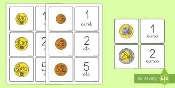 Tarjetas de emparejar: Monedas - emparejar, monedas, euros, céntimos, tarjetas, juego,Spanish