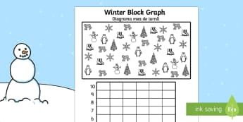 Winter Themed Colour, Count and Graph Activity Sheet Romanian/English - Winter Themed Colour Count and Graph Worksheet - winter themed, winter, themed worksheets, winter th