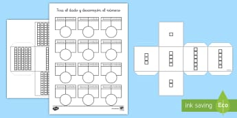 Ficha de actividad: Tira el dado y descompón el número  - dado, dados, tirar, descomposición, mates, matemáticas, descomponer, números, decenas, unidades,