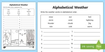 Weather Alphabet Ordering Worksheet - weather, alphabet, a-z