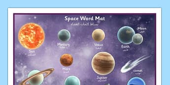 Space Word Mat Detailed Images Arabic Translation - arabic, space, planets, keywords, words
