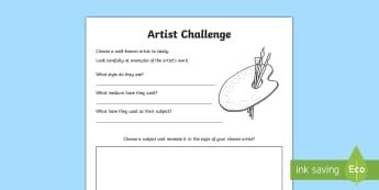 Artist Challenge Activity Sheet - Northern Ireland Artists, art challenge, artists, drawing, sketching, art questions, worksheet