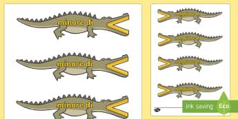 I coccodrilli dei Maggiori e i Minori - simboli, matematica, matematici, numeri, coccodrilli, maggiore, minore, di, italiano, italian
