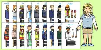 People Who Help Us Split Pin Characters - People who help us, Activity, split pin, colouring, fine motor skills, cutting, Role Play, Doctor, Nurse, Teacher, Police, Fire fighter, Paramedic, Builder, Caretaker, Lollipop, Traffic Warden, Lunchtime supe