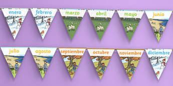 Banderitas - Los meses del año - año, calendario, decoración, enero, febrero, marzo, abril, mayo, junio, julio, agosto, septiembre, setiembre, octubre, noviembre, diciembre