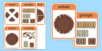 CfE Early Level Numeracy and Mathematics Fractions, Decimal Fractions, and Percentages Keyword Flashcards-Scottish