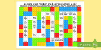Building Brick Addition and Subtraction Board Game - add, subtract