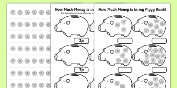 How Much Money Is In My Piggy Bank 1p Worksheet - maths, numeracy, coins