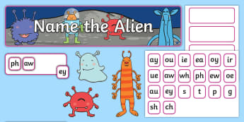 Phase 5 'Name the Alien' Interactive Display Pack - Spring UK,Spring, Seasons, EYFS, Reception, KS1, Year 1, Year 2, Reading, English, Phonics, Phase 5,