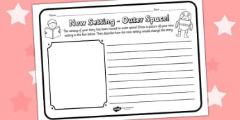 New Setting Outer Space Comprehension Worksheet - new setting, outer space, comprehension, comprehension worksheet, character, discussion prompt, reading