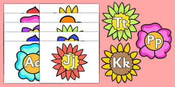 Alphabet on Flowers Uppercase and Lowercase - alphabet, flowers, uppercase, lowercase