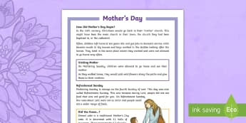 KS2 Mother's Day Differentiated Fact File - KS2, year 3, year 4, year 5, year 6, yr 3, yr 4, yr 5, yr 6, fact file, differentiated fact file, re
