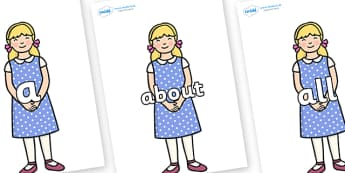 100 High Frequency Words on Goldilocks - High frequency words, hfw, DfES Letters and Sounds, Letters and Sounds, display words