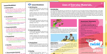 PlanIt - Science Year 2 - Uses of Everyday Materials Planning Overview CfE - planit, science, year 2, planning, overview