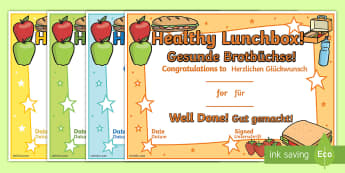 Healthy Lunchbox Certificates English/German - Healthy Lunchbox Certificates - healthy eating, healthy eating certificate, food, award certificate,
