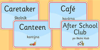 School Room Signs EAL Czech Version - languages, signs, EAL