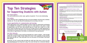 Top Ten Strategies to Support Students with Autism Adult Guidance  - World Autism Awareness Day, WAAW, autism, ASD, ASC,
