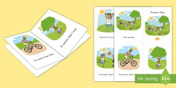 Summer Days Emergent Reader - summer, summer season, first day of summer, summertime, emergent reader, flying a kite, bike, reader
