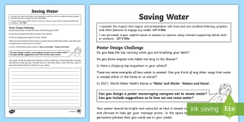 Design a Save Water Writing Activity Sheet - World Water Week, reduce waste, recycle, environmental, persuasive, writing