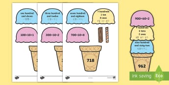 Place Value Ice Cream Cone Matching Activity English/Mandarin Chinese - Place Value Ice Cream Cone Match Activity Hundreds Tens and Ones, placevalue, plce value, place vlau