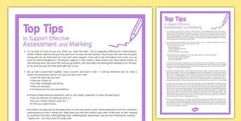 Top Tips to Support Effective Assessment and Marking - nqt, rqt, work life balance, support, progress, record, work, ideas, information, ks1, ks2,
