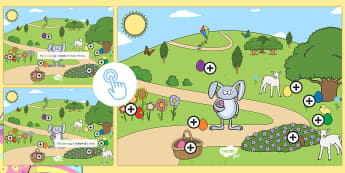 Easter Egg Prepositions Picture Hotspots - EYFS, Early Years, KS1, Easter, Easter eggs, Easter egg hunt, Easter bunny, spring, prepositions, po